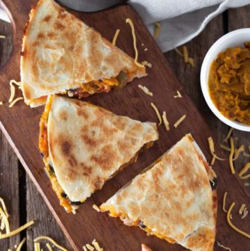 black bean and butternut squash quesadilla triangles