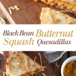 Black Bean and Butternut Squash Quesadillas - These cheesy quesadillas are actually healthy! I can't stop eating them. Full recipe at theliveinkitchen.com