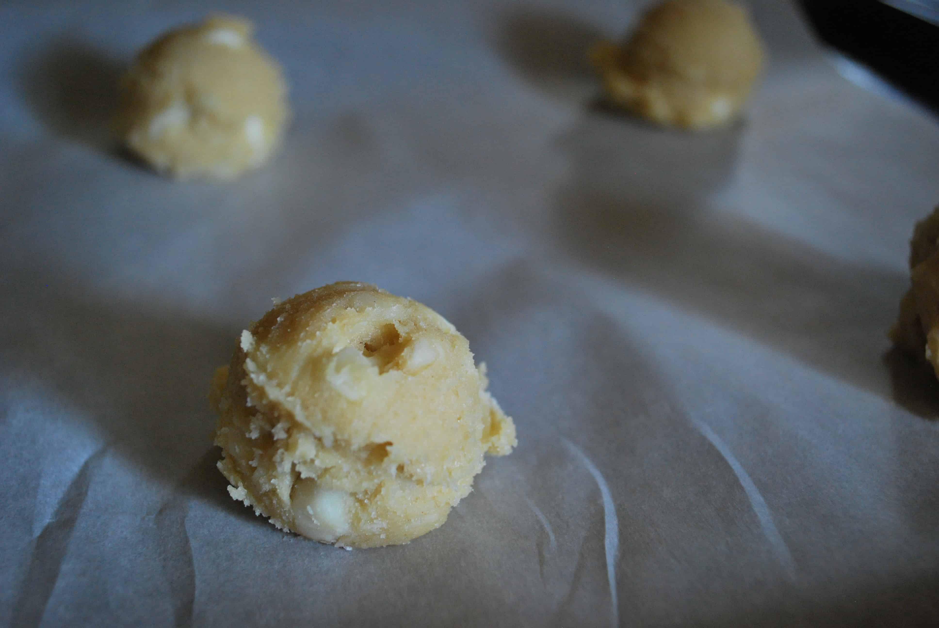 White Chocolate Chip Macadamia Nut Cookie Dough Balls