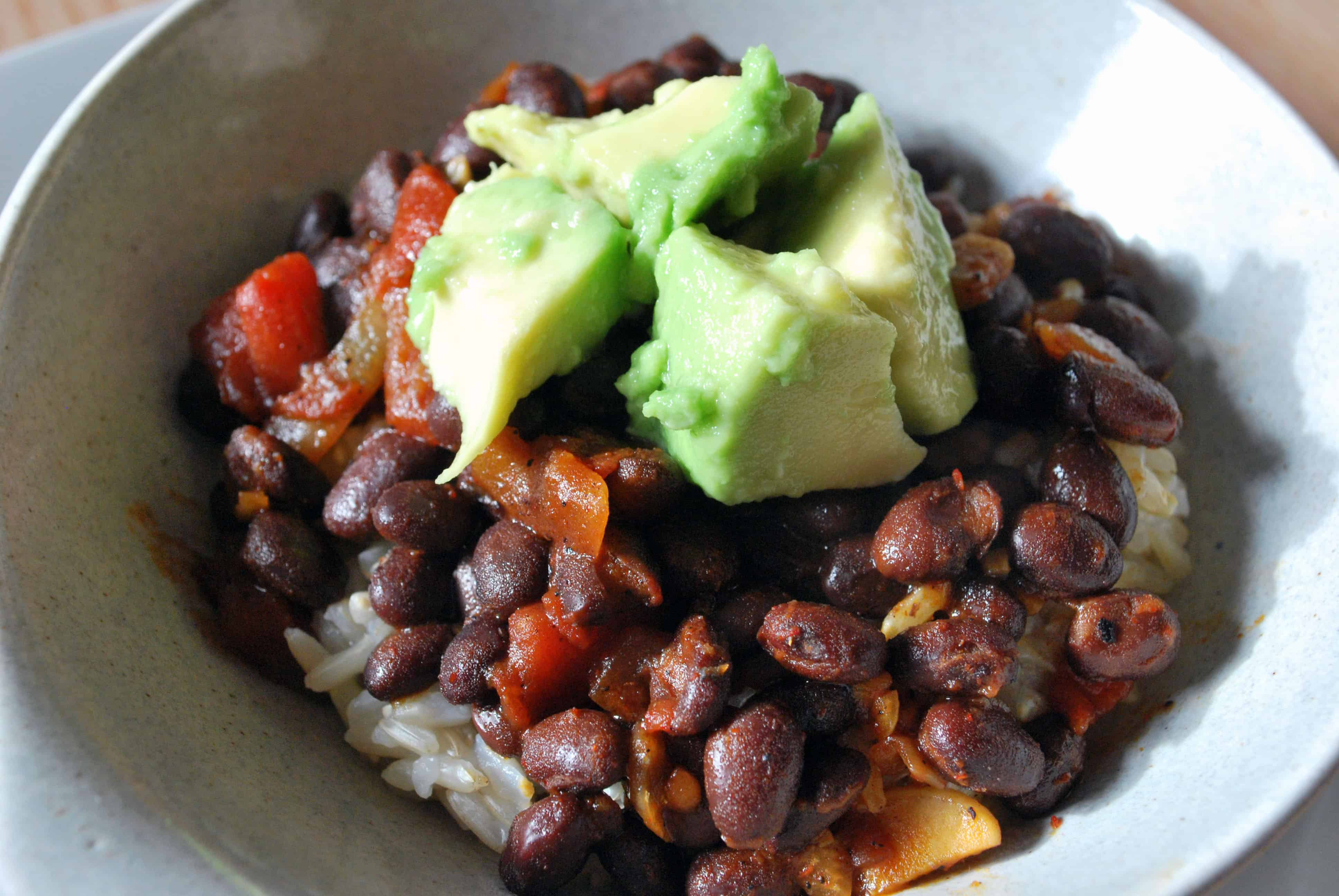 Beer-Glazed Black Beans with Avocado