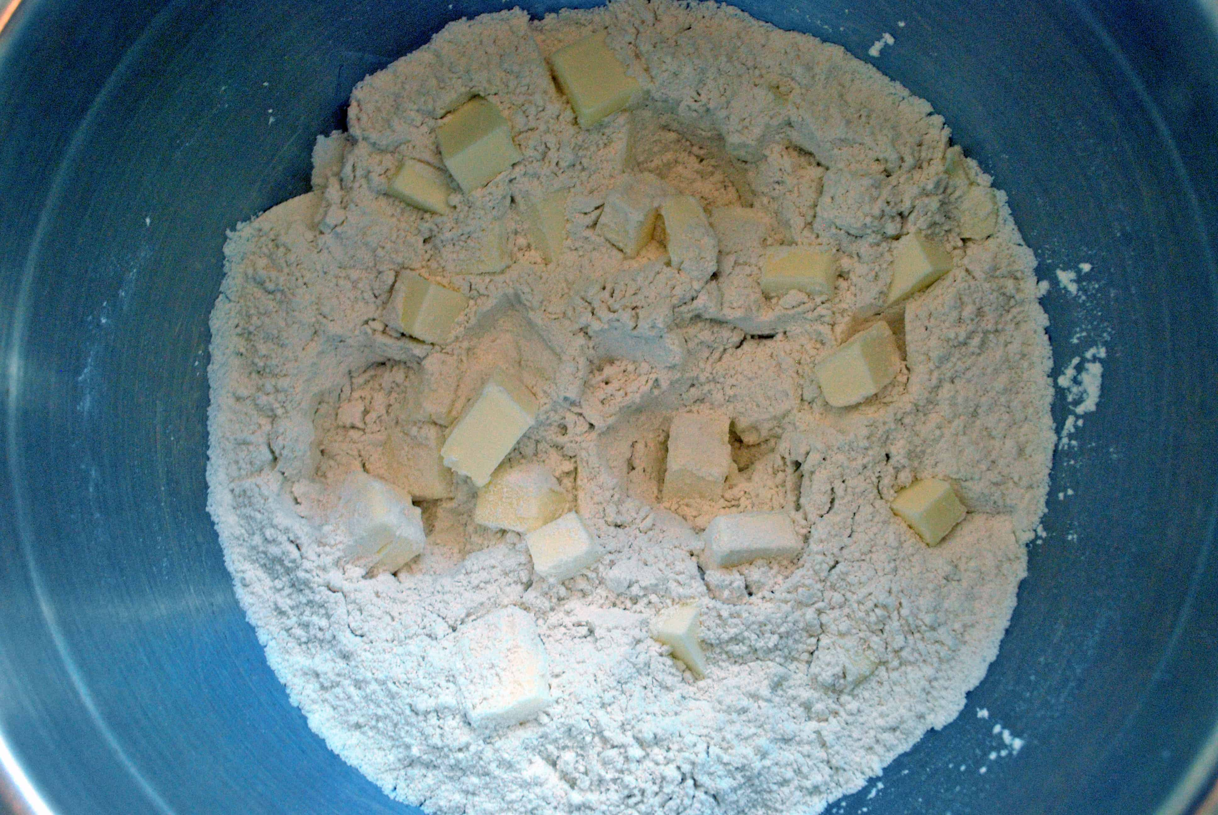 cubed butter in dry ingredients