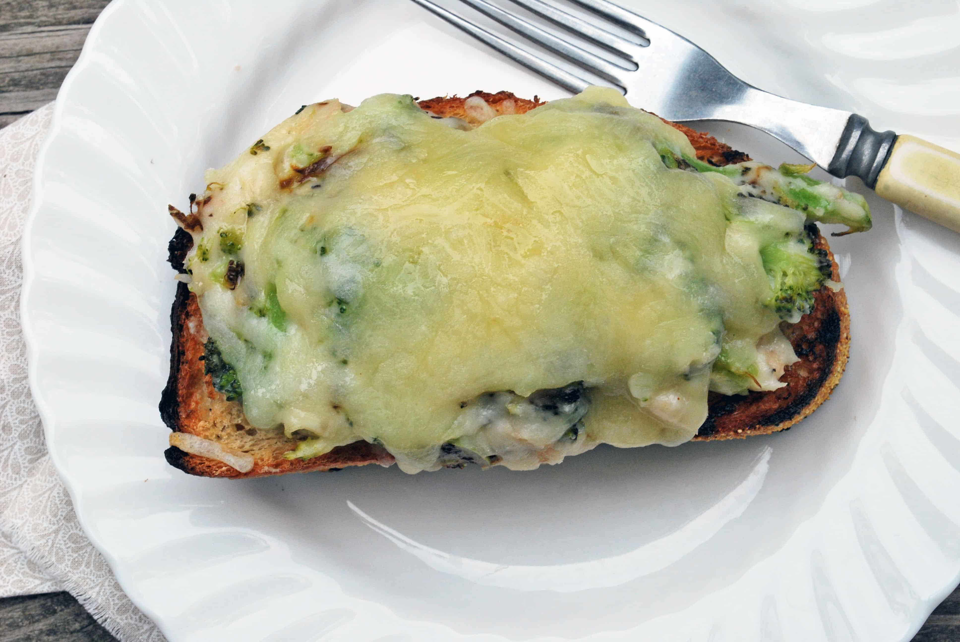 Open Faced Cheesy Broccoli and Bean Sandwich