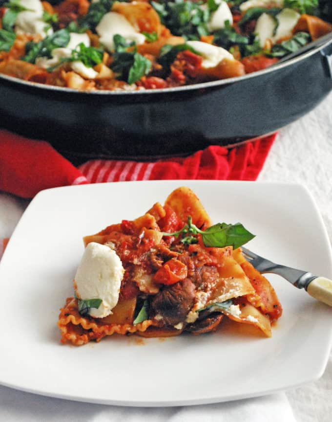 skillet lasagna on a white plate