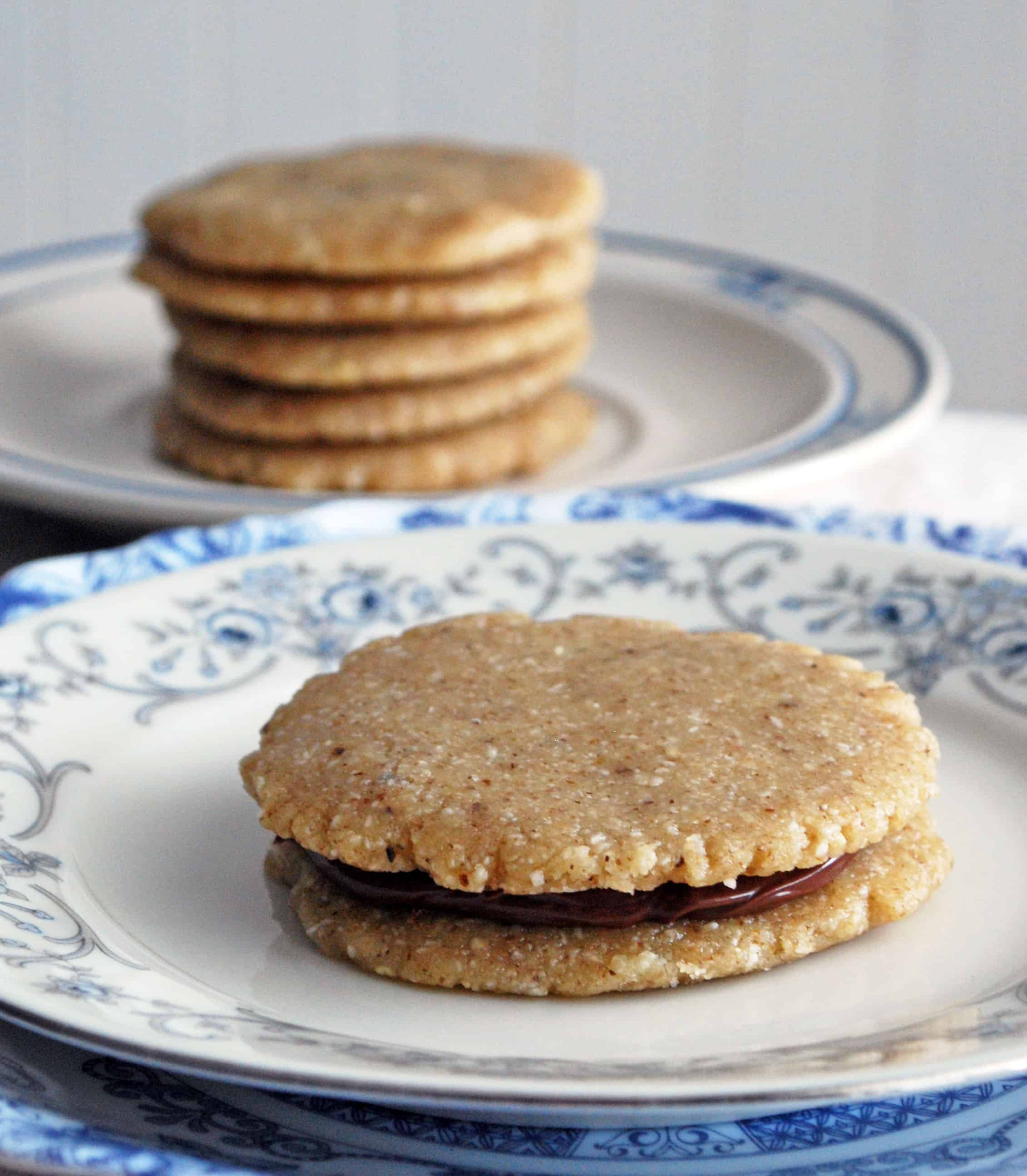 Raw Walnut Shortbread Sandwich Cookies