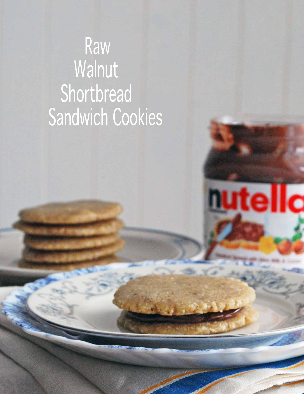 Raw Walnut Shortbread Sandwich Cookies