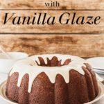 Banana Bundt Cake with Vanilla Glaze - A dense, sweet bundt cake topped with a simple, sweet glaze. #bundtcake #banana #glaze #bundtcakeglaze #vanilla