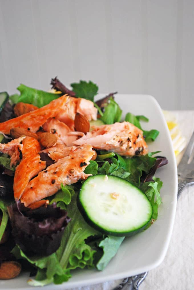 Lazy Lady Salmon Salad - The easiest, healthiest salad you'll ever make!
