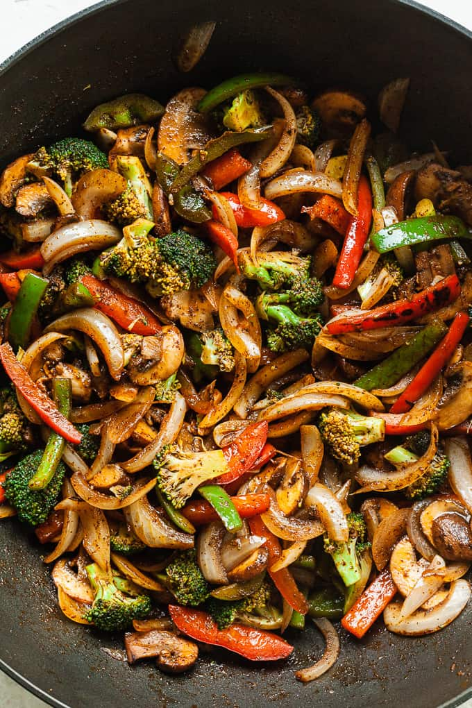 cooked fajita veggies in a pan