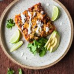Stacked Veggie Enchiladas - A vegetarian Mexican meal that requires no rolling! #enchiladas #mexican #cincodemayo #vegetarian