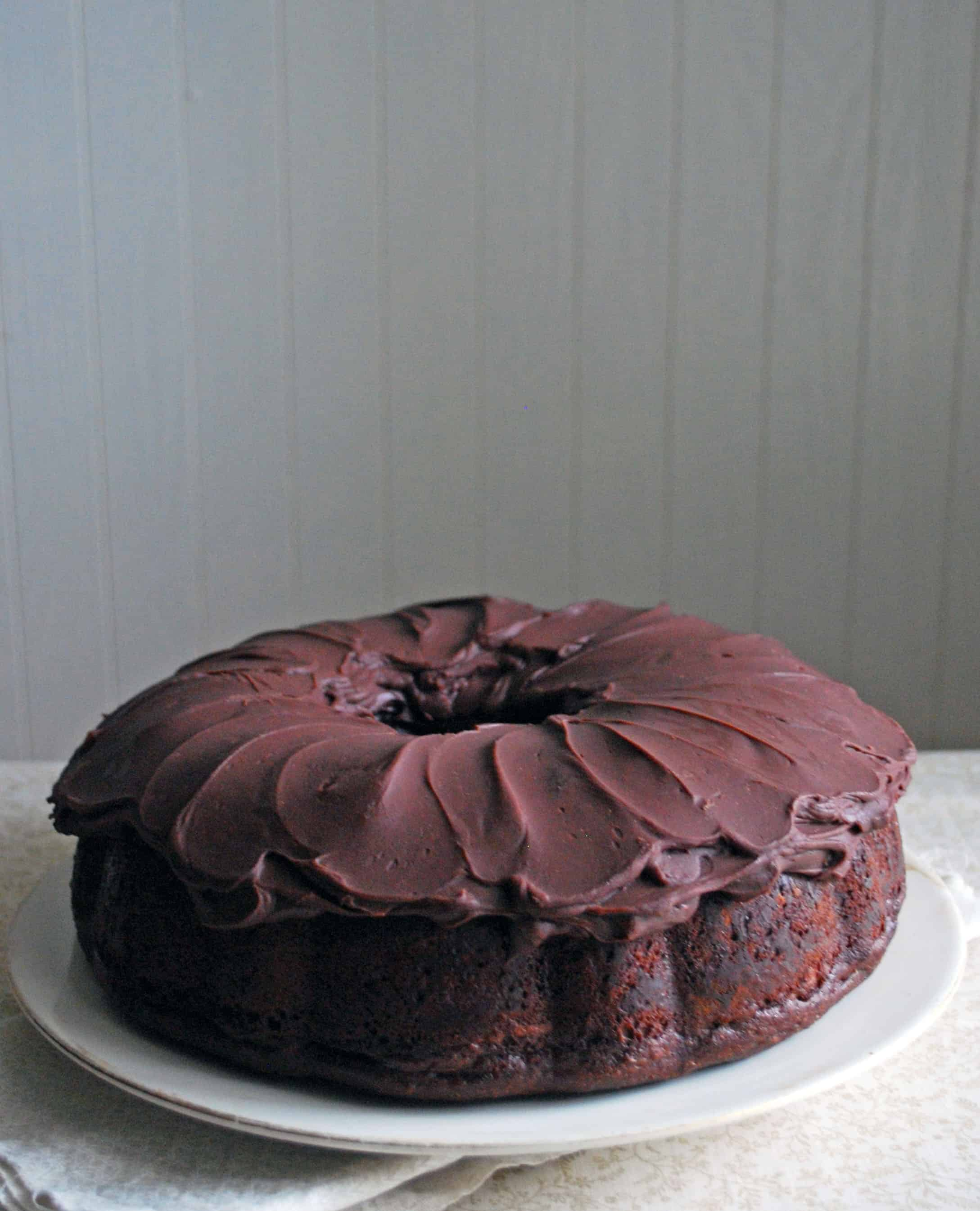 Orange Scented Chocolate Cake with Ganache Frosting