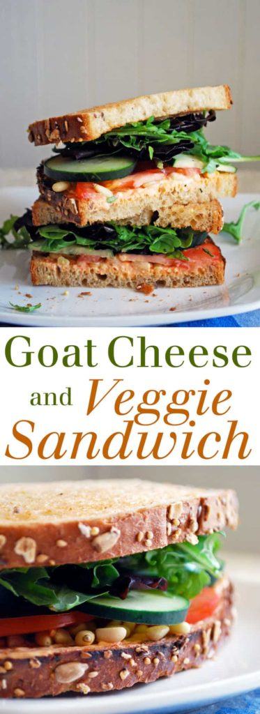 Goat Cheese and Veggie Sandwich - A delicious combination of flavors and textures in one meatless sandwich! Full recipe at theliveinkitchen.com @liveinkitchen
