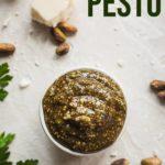 pinterest image for pistachio pesto