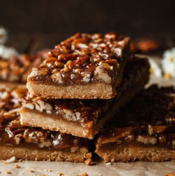 a stack of pecan pie bars