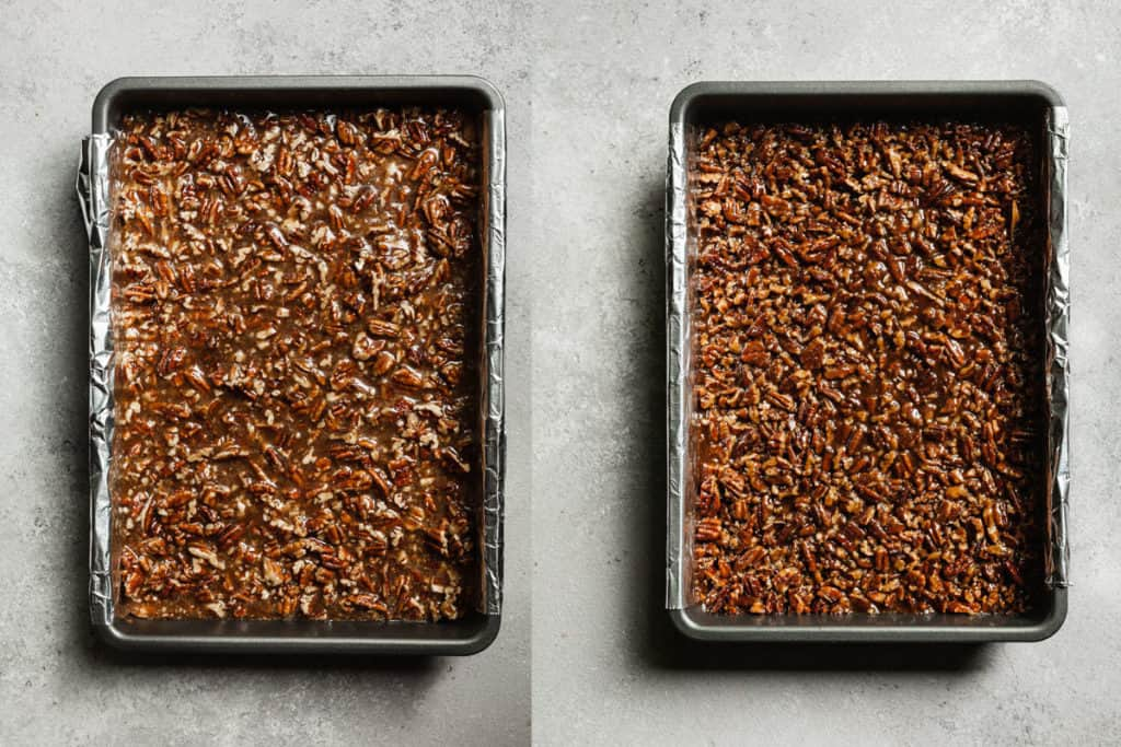 pecan pie bars before and after the final bake