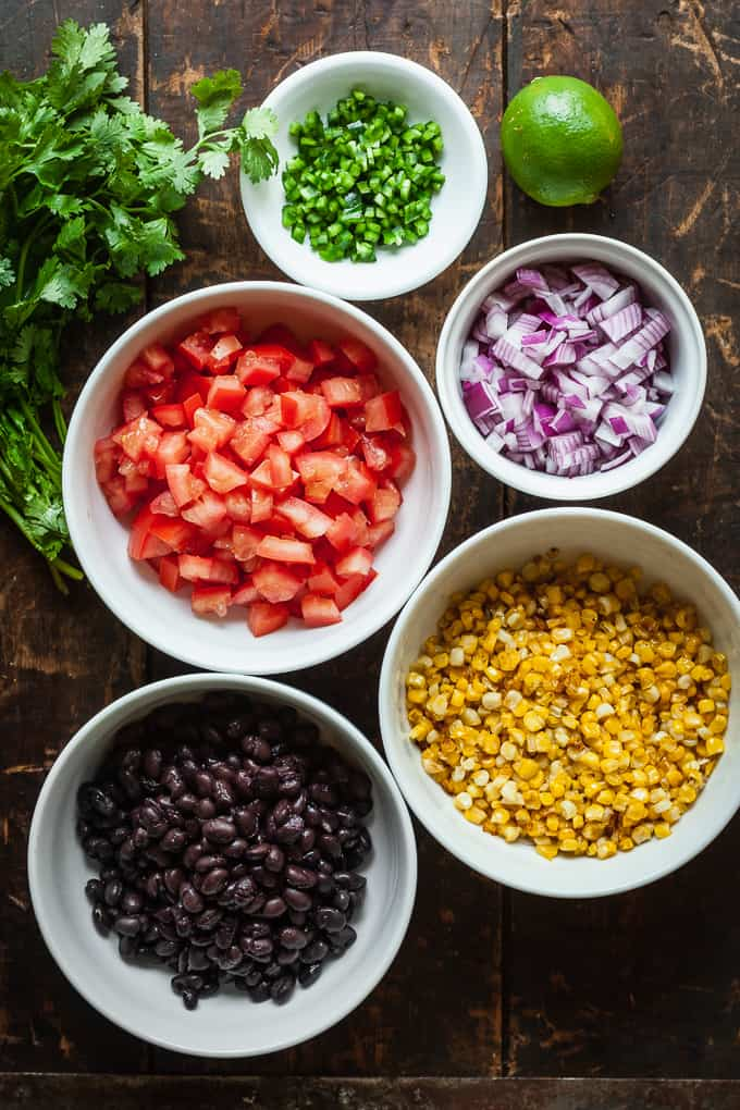 ingredients for corn and black bean salsa