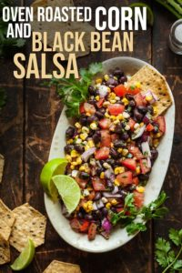 pinterest image for oven roasted corn and black bean salsa