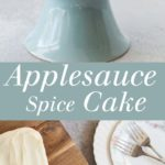 Applesauce Cake - Dense and lightly spiced, smothered with cream cheese frosting, this is the perfect fall snack cake! Recipe includes instructions to make one smaller, less sweet smash cake for a baby and one loaf cake for serving to guests. | theliveinkitchen.com @liveinkitchen #cake #smashcake #babycake #applecake #apple #creamcheese #creamcheesefrosting #spicecake