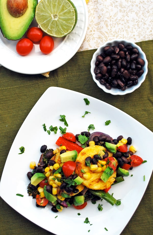 Grilled Polenta Cakes with Oven Roasted Corn and Black Bean Pico de Gallo and Grilled Vegetables // The Live-In Kitchen #Mexican #Vegetarian
