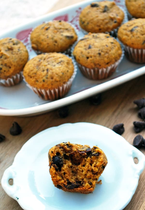 image of mini pumpkin muffins on white tray and image of cut muffin on white plate