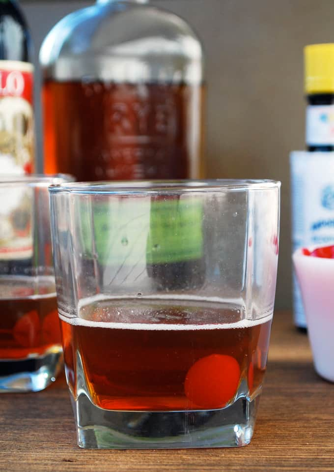 side view image of manhattan drink in glass