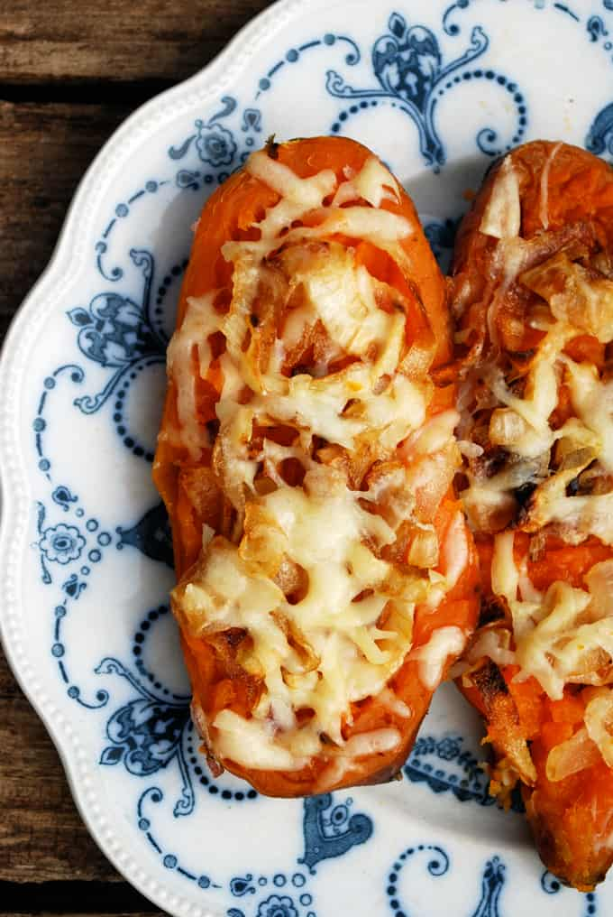 Twice Baked Sweet Potatoes with Caramelized Onions and Gruyere // The Live-In Kitchen