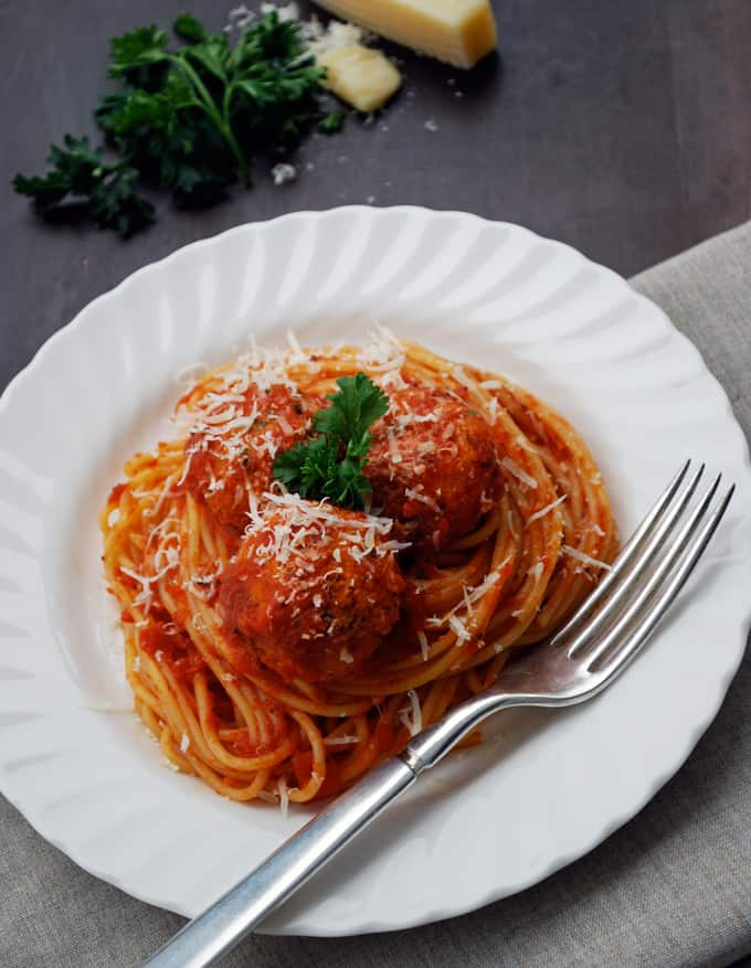 a plate of spaghetti and meatless meatballs