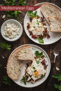 mediterranean eggs on a white plate with bread