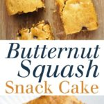 Butternut Squash Snack Cake - A tender cake using leftover squash or a jar of baby food! Studded with chocolate chips and perfect for snacking. Full recipe at theliveinkitchen.com @liveinkitchen