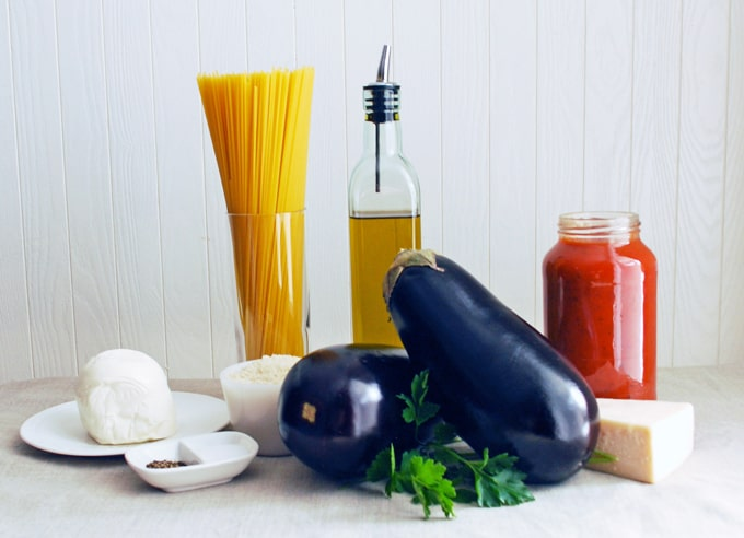 image of ingredients for easy eggplant parmesan