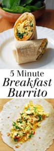Five Minute Breakfast Burrito - A quick and easy vegetarian breakfast option that hits plenty of food groups! Full recipe at theliveinkitchen.com @liveinkitchen