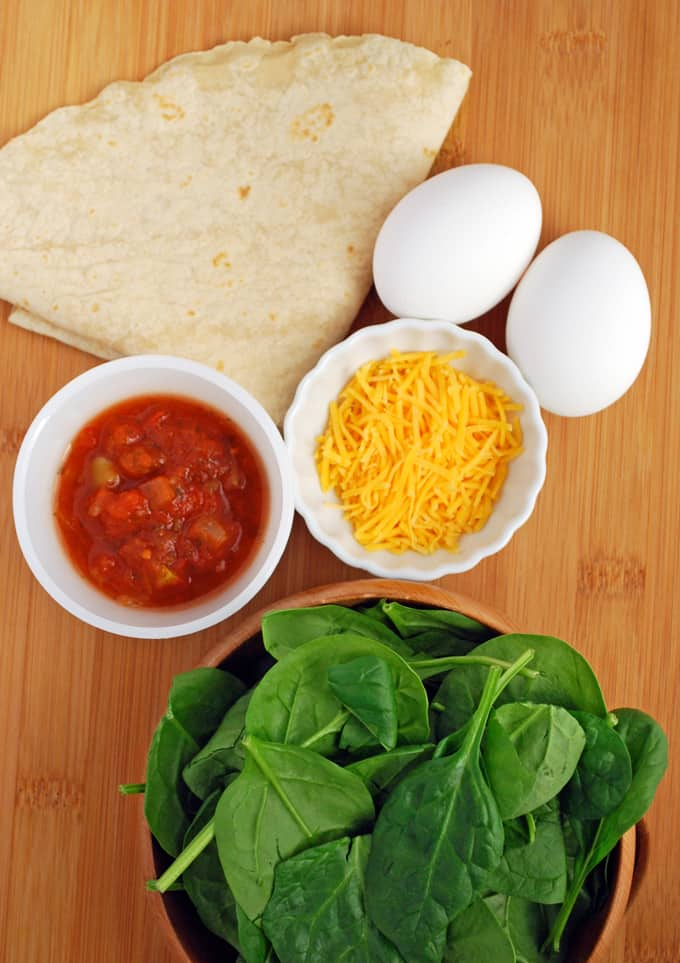 ingredients for a breakfast burrito