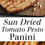 Sun Dried Tomato Pesto Panini - An easy vegetarian sandwich that's full of rich tomato flavor and lots of cheese! Full recipe at theliveinkitchen.com @liveinkitchen