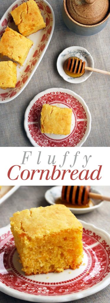 Moist and Fluffy Cornbread - This is the most perfect cornbread recipe that comes out tall and fluffy every time, never dry! I make this at least once a week. Recipe at theliveinkitchen.com