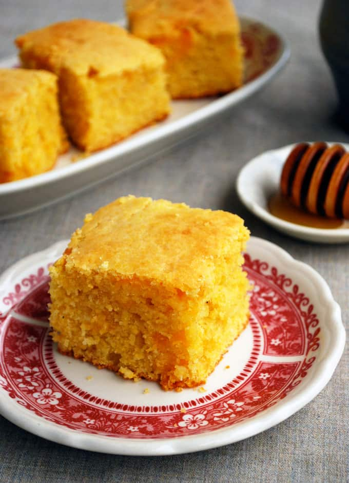 several slices of cornbread on plates