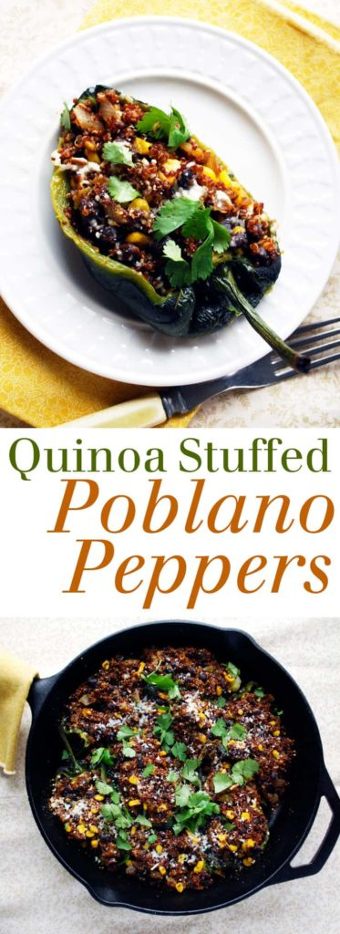 Quinoa Stuffed Poblano Peppers - Only 250 calories for two pepper halves! Full recipe at theliveinkitchen.com @liveinkitchen