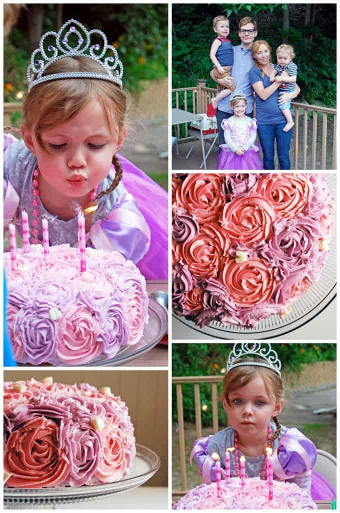 Little girl's birthday with a Rapunzel dress and pink and white rose cake with white butterflies!