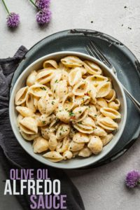 pinterest image for olive oil alfredo sauce