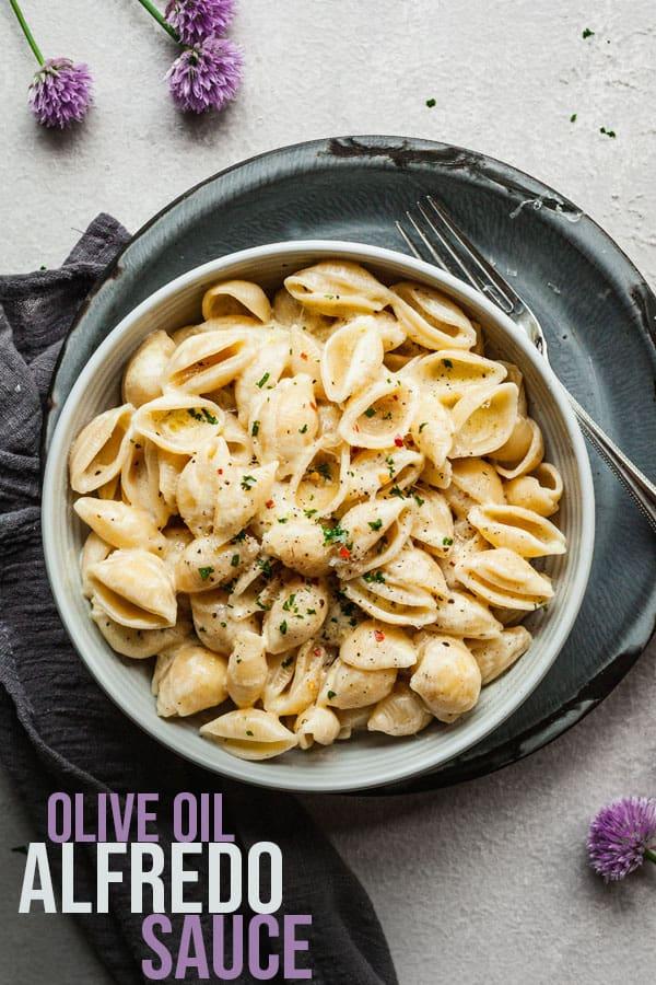 pinterest image for olive oil alfredo sauce