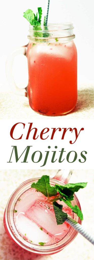 pinterest image for cherry mojitos