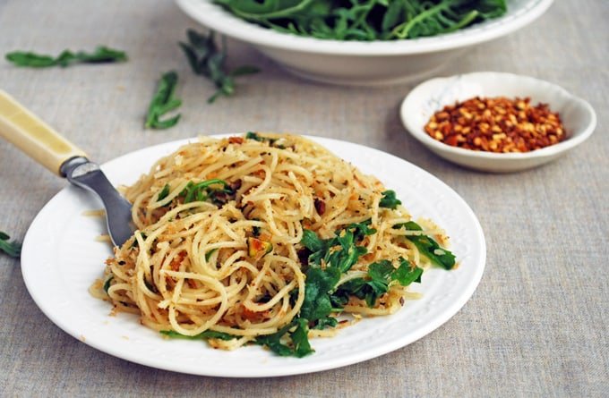 Angel Hair Pasta with Lemony Pistachios and Arugula by The Live-In Kitchen