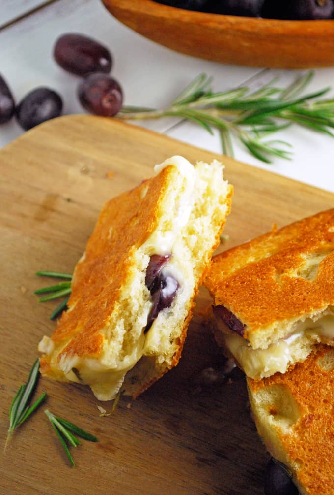 a couple focaccia grilled cheese sandwiches