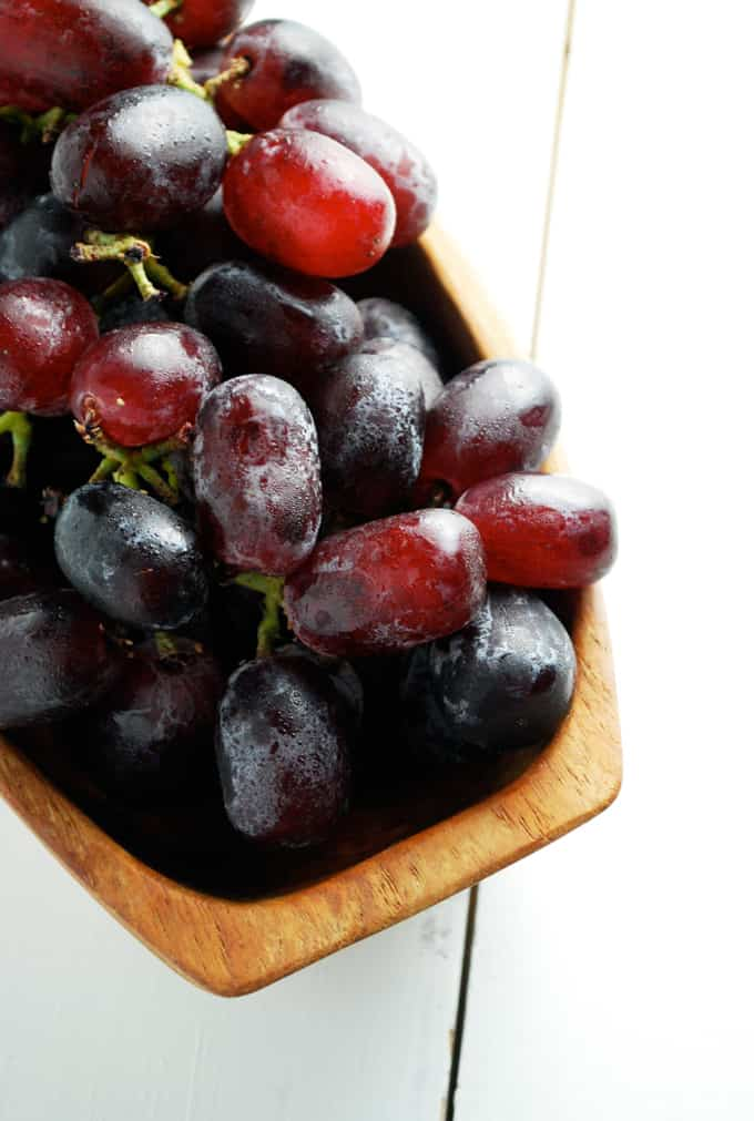 grapes in a wood bowl