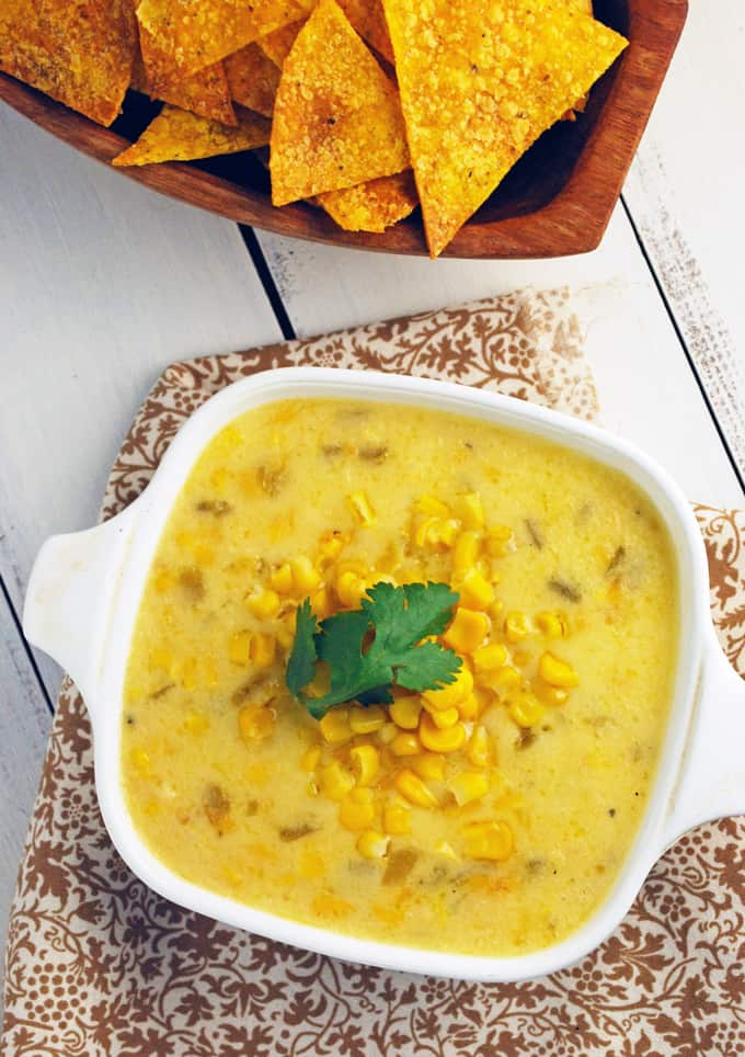 Cheesy Green Chile Corn Dip - What a great way to get kids to eat veggies!