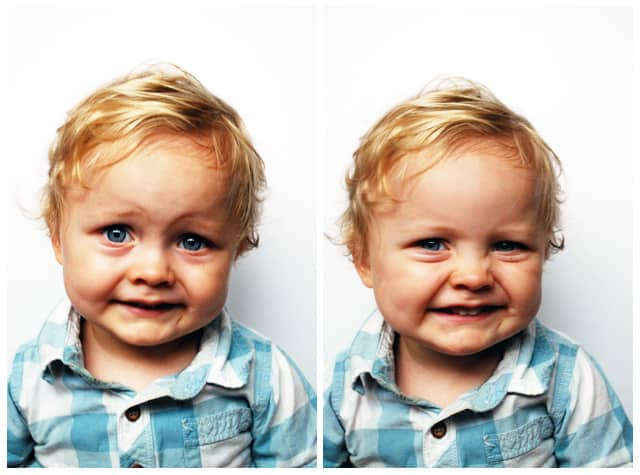 Boy making two different faces