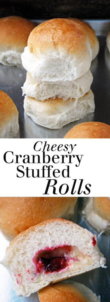 Cheesy Cranberry Stuffed Rolls | theliveinkitchen.com @liveinkitchen