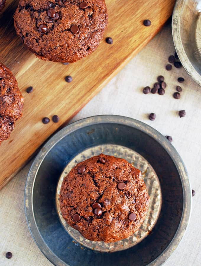 Double Chocolate Banana Muffins - Healthier muffins that taste just like a decadent bakery treat!