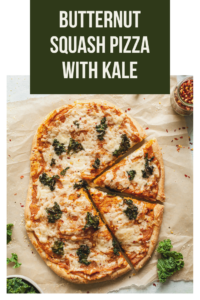 pinterest image for butternut squash pizza with kale