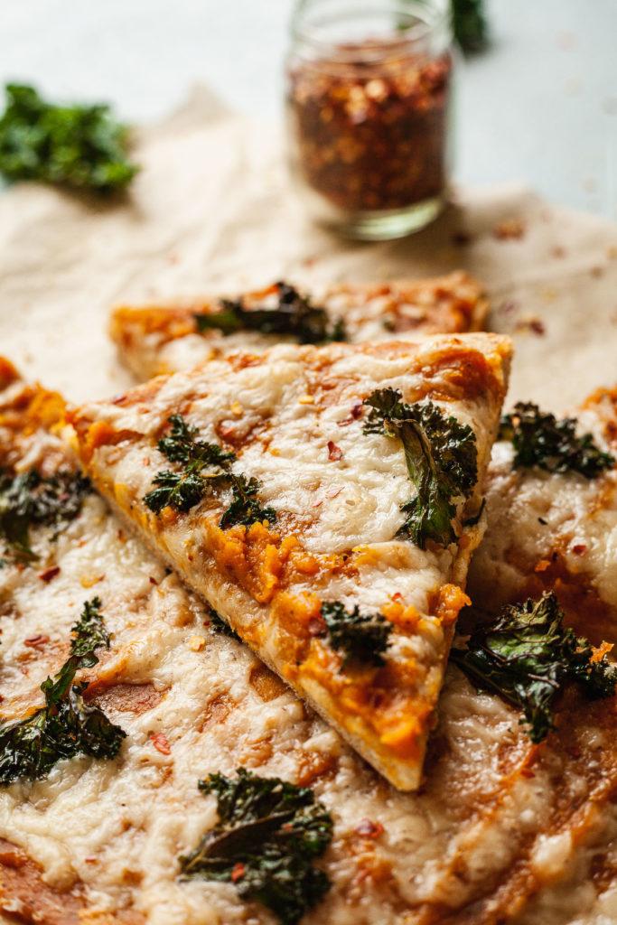 a slice of butternut squash pizza dough