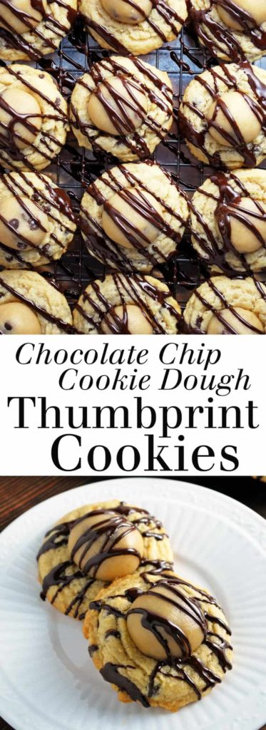 Chocolate Chip Cookie Dough Thumbprint Cookies - A decadent treat that will become a staple on your holiday cookie tray! Edible cookie dough nestled on top of a chocolate chip cookie, drizzled in chocolate. Full recipe at theliveinkitchen.com @liveinkitchen #chocolate #chocolatechip #chocolatechipcookie #chocolatechipcookiedough #cookiedough