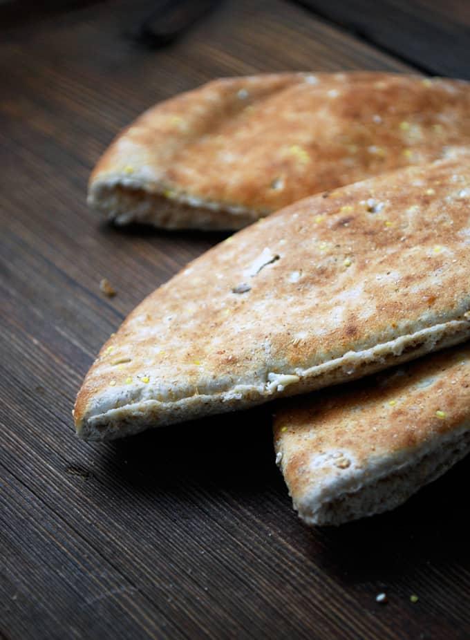 pita bread on a wood table